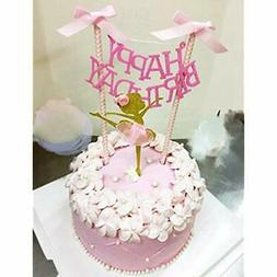 HAPPY BIRTHDAY Cake Bunting Topper With Pink Bows And Straws