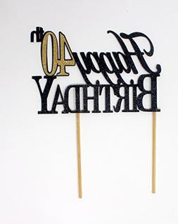 All About Details Happy 40th Birthday Cake Topper,1pc, 40th