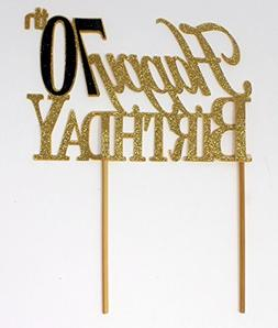 All About Details Happy 70th Birthday Cake Topper,1pc, 70th
