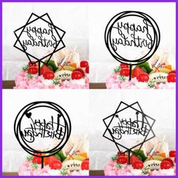 Happy Birthday Cake Topper Acrylic Cupcake Party Decorations