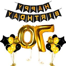 Happy 70th Birthday Decorations Old Party Supplies Black and