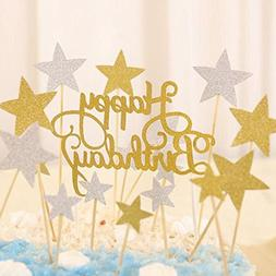 Joyclub Happy Birthday Monogram and Gold Silver Star Cake Cu