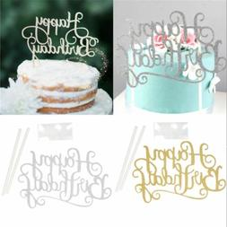 """Happy Birthday""Simple Gold Silver DIY Cake Topper Party Sup"