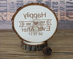 Happy Ever After Wood Slice Wedding Cake Toppers Country Eng