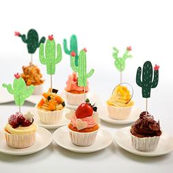 Tinksky 24Pcs Hawaii Style Cake and Cupcake Toothpick Topper