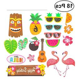 LUOEM 18pcs Hawaii Cake Toppers Paper Cake Toppers Decoratio