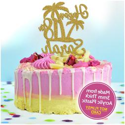 Hawaiian Cake Topper PERSONALISED Acrylic Tropical Palm Tree