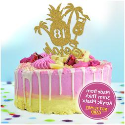 Hawaiian Cake Toppers PERSONALISED Acrylic Tropical Pineappl
