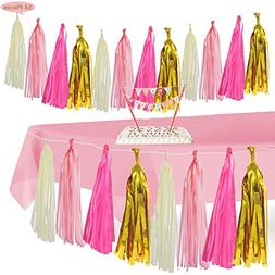 Home Décoration & Pink Tablecloth,Tissue Tassel Garland Tab