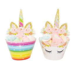 Hot 24Pcs Rainbow Unicorn Cupcake Toppers Kids Birthday Part
