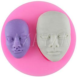 Anyana Human Face Candy Silicone Mold for Sugarcraft, Cake D