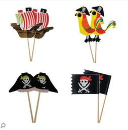 iMagitek 40 Pcs Pirate Cupcake Toppers Decorations for Boy's