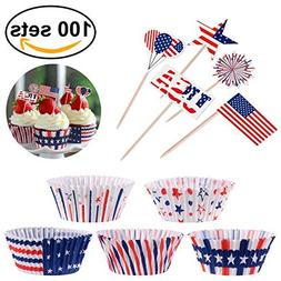 4th of July Decorations Cupcake Toppers with Liners, Patriot