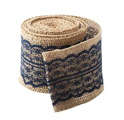 "Jute Burlap Ribbon Roll with Navy Blue Lace 2.4"" Width 2 Yar"