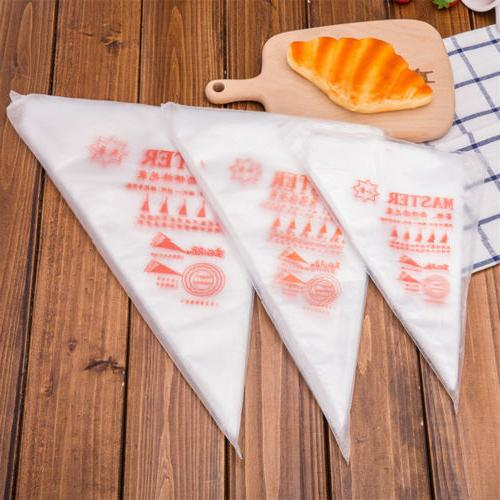 100Pcs Plastic Piping Pastry Bags Baking Cake L