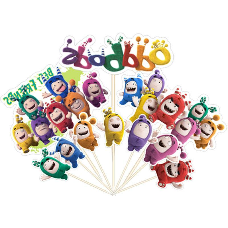 10PCS Oddbods Fuse Pogo Cake Toppers Picks Party Decor