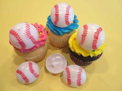 12 Baseball 3D Rings Cupcake Toppers Cake Decorations Party