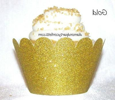 12 Gold Glitter Cupcake Wrapper 50th Anniversary Wedding Party Decoration