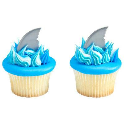 12 Shark Cupcake Toppers Decorations