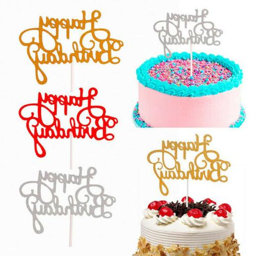15 pcs glitter paper happy birthday cake