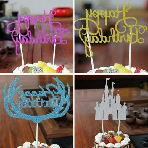 15PC/Lot Happy Birthday Cake Topper Glitter Cupcake Dessert