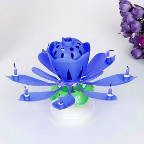 2PC Birthday Musical Lotus Flower Floral Rotating Party