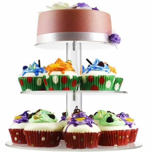 3 Wedding Cake Cupcake Tower Dessert Food Display HM