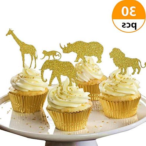 30 Pcs JeVenis Gold Glitter Jungle Safari Animal Cupcake Top