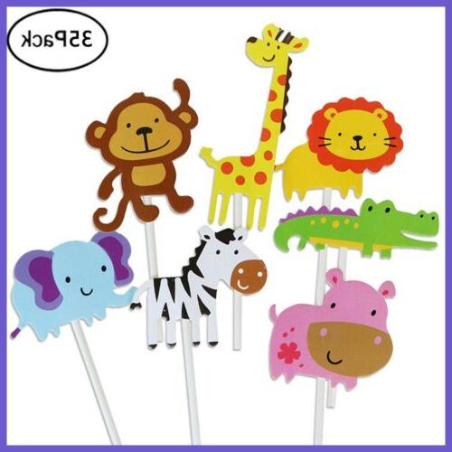 35 Jungle Cupcake Toppers Animal Birthday