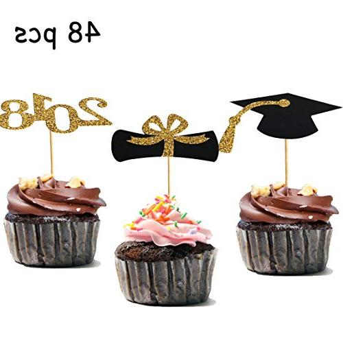 48pcs Graduation Cupcake Toppers 2018 Graduation Party Decorations Black And Gold Cupcake Decorations
