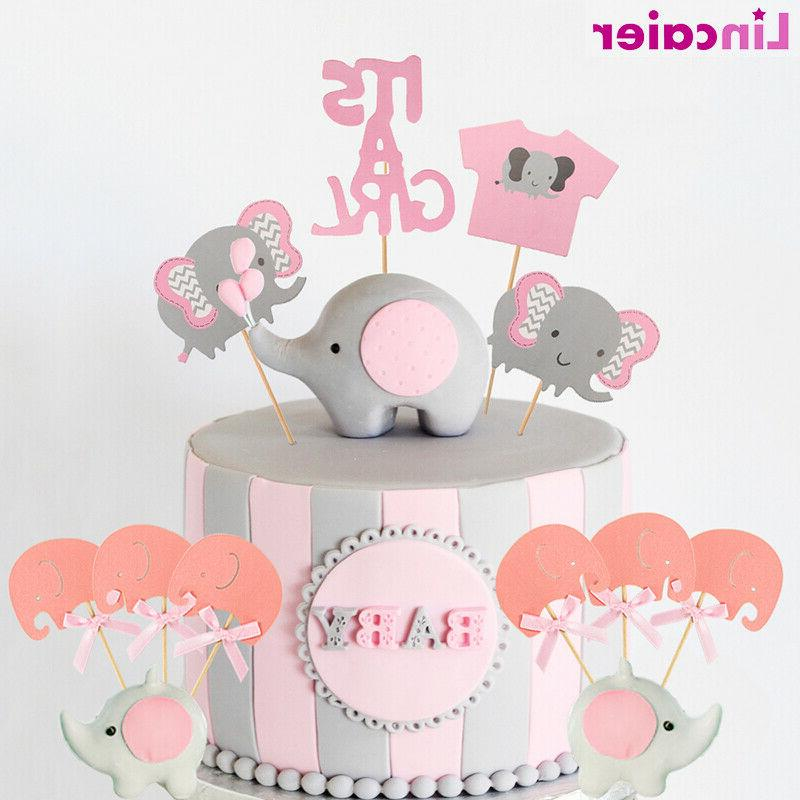 4pcs Elephant Baby Shower Cake Toppers Its A