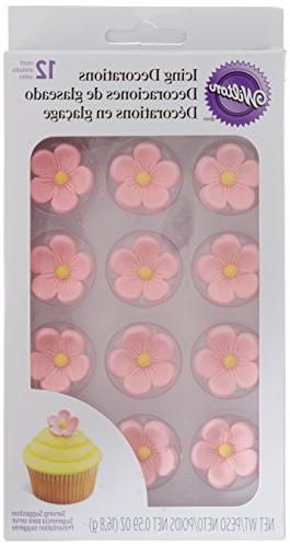 5 Petal Flower Pink Royal Icing Decorations 12 ct from Wilto