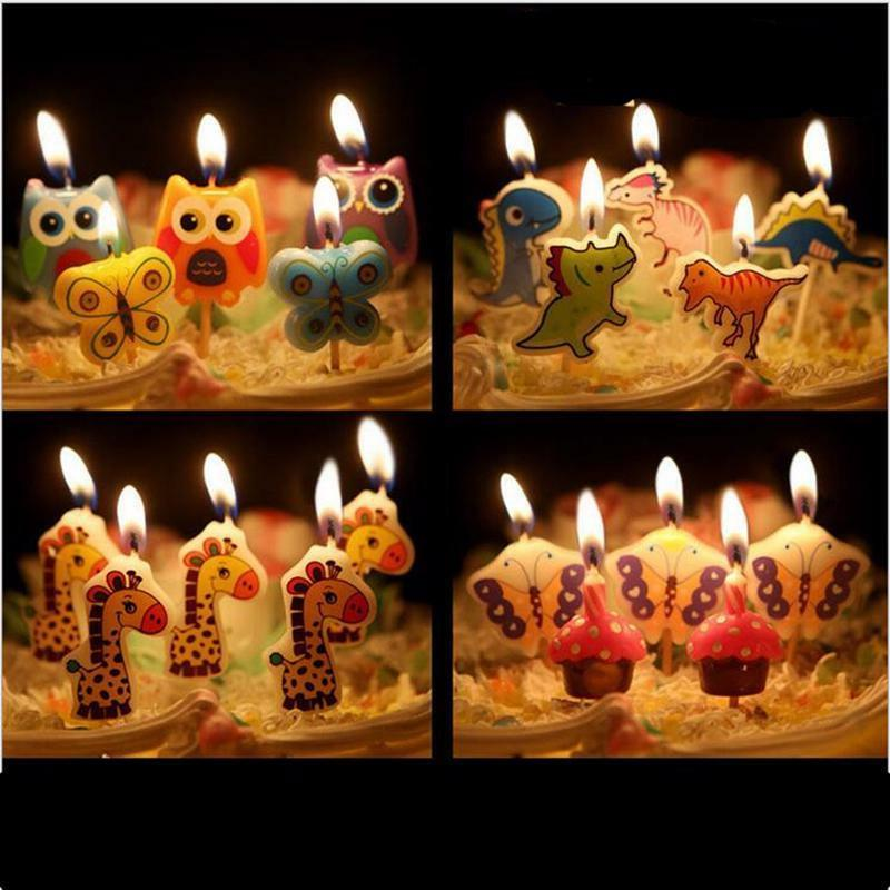 5pcs Birthday Candle Set Cartoon Toppers Cake Decorations Ki