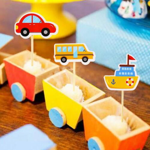 5pcs Cute transport birthday party decoration card inserts