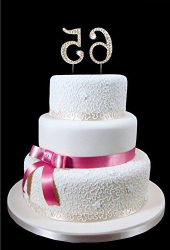 65th Birthday Wedding Anniversary Number Cake Topper With Sp