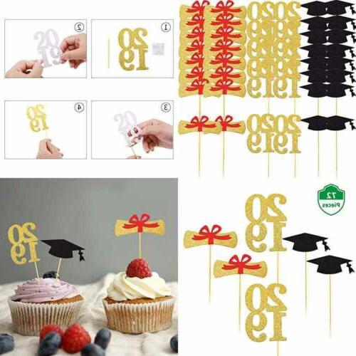 72 pc graduation cupcake toppers 2019 party