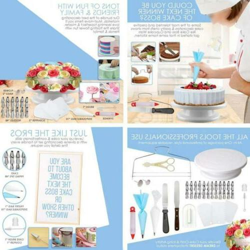 73pcs Kit Baking Fondant Turntable Bag Tip