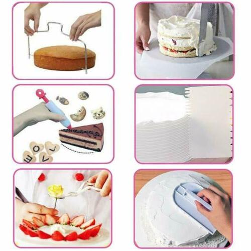 73pcs Cake Decorating Kit Fondant Supplies Turntable Bag Spatula