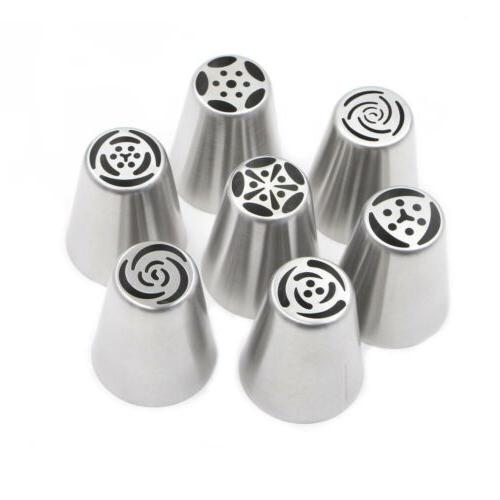 7pcs Russian Piping Nozzles Tips Pastry Tool