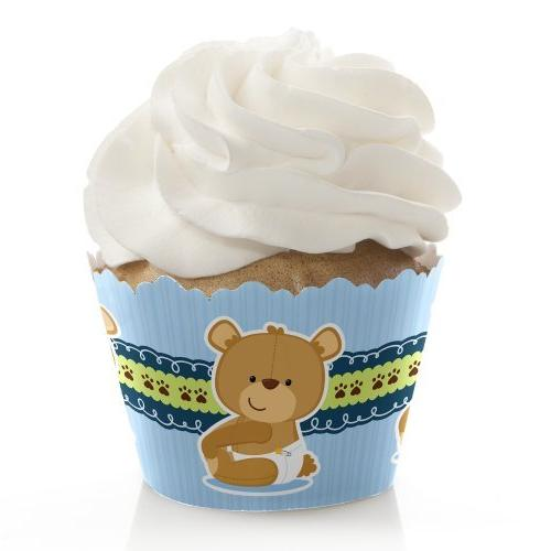 Boy Baby Teddy Bear - Baby Shower Decorations - Party Cupcak