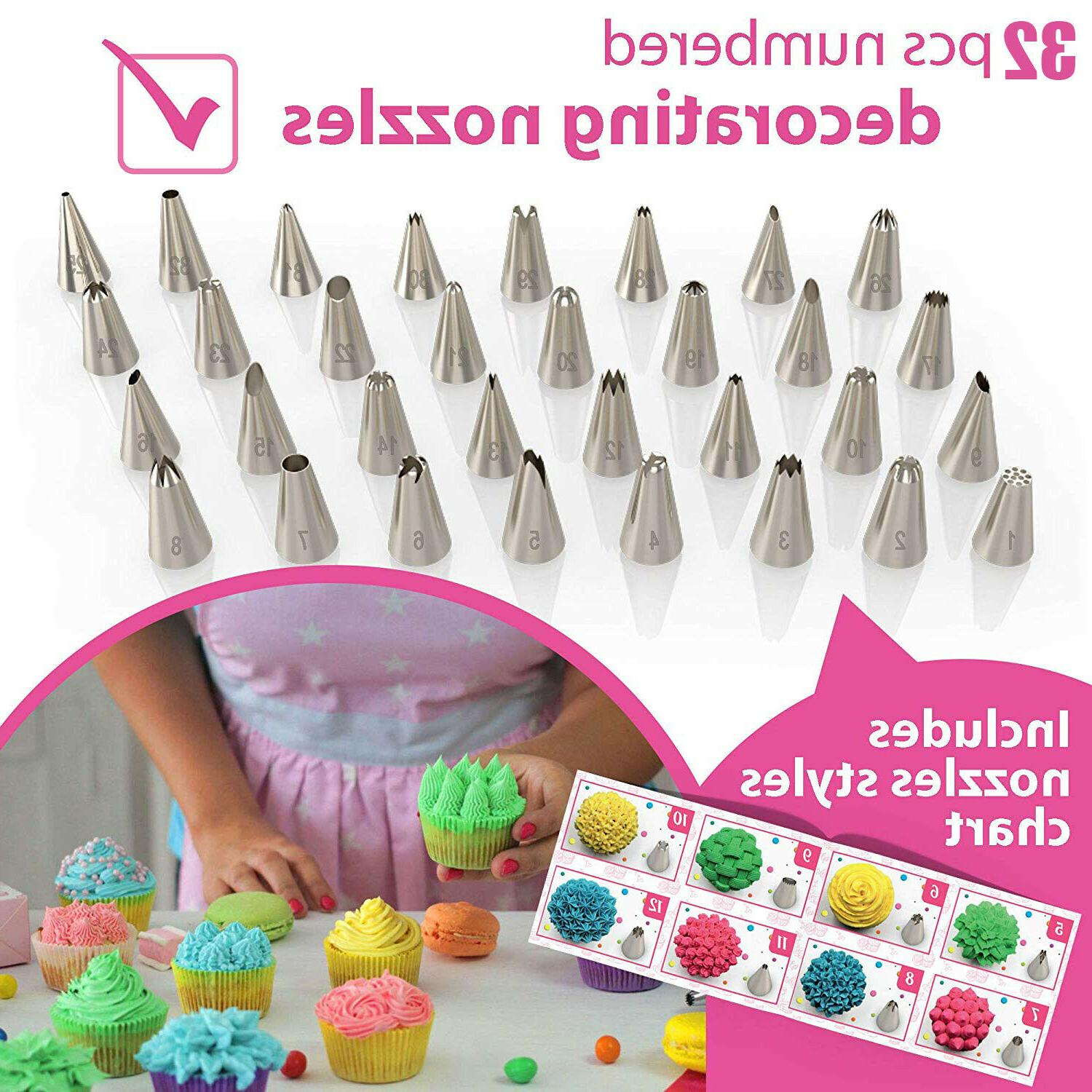 Cake Decorating Kit 54 Tips Bags Nozzles