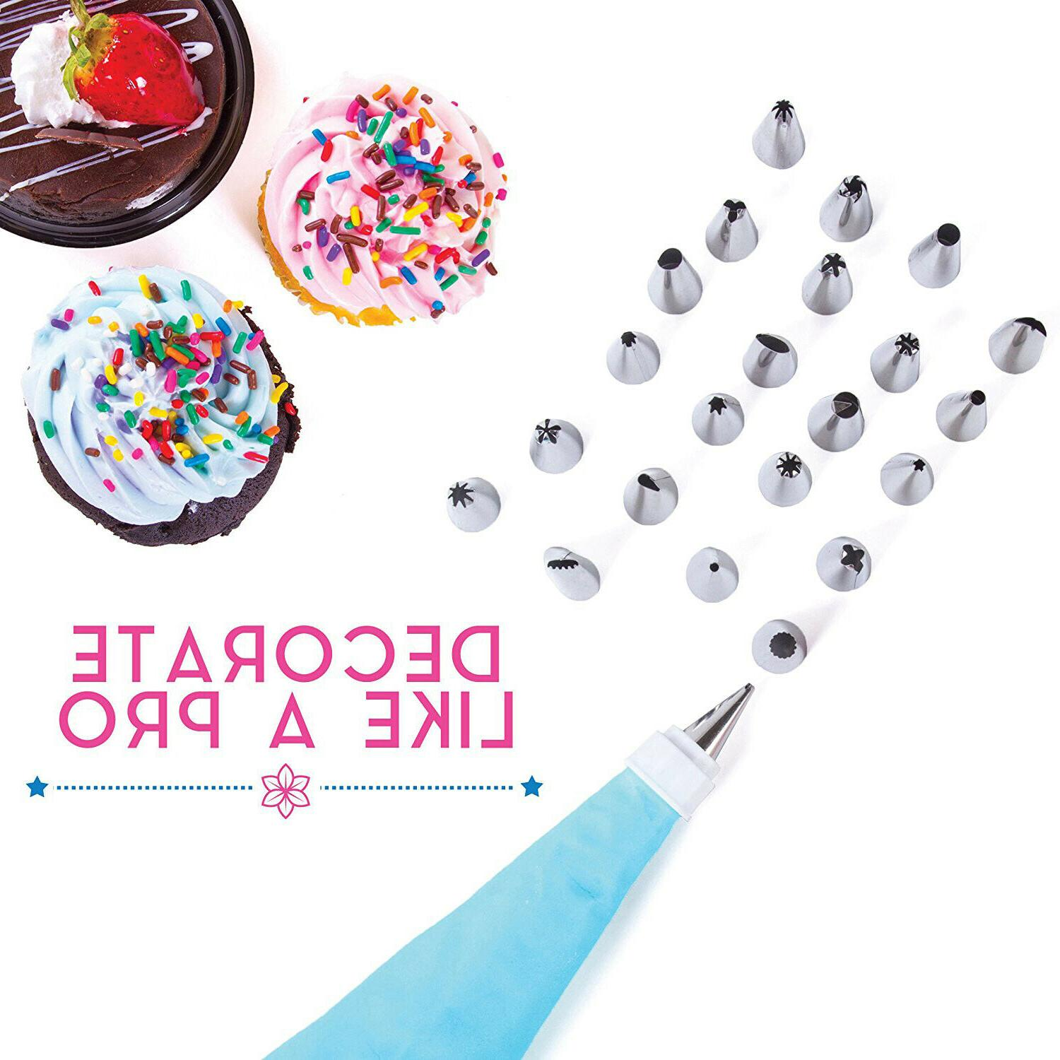 Cake Decorating Tools Kit 38 Tips Bags Nozzles Supplies Equipment