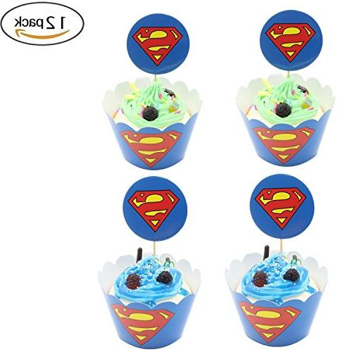 Cupcake Toppers Wrappers Birthday Party Supplies Superman Cake Decorati