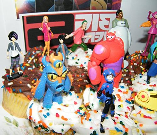 Disney Figure Cake Toppers Cupcake Party Large Set Of 12 With Baymax Fred Special Tattoo