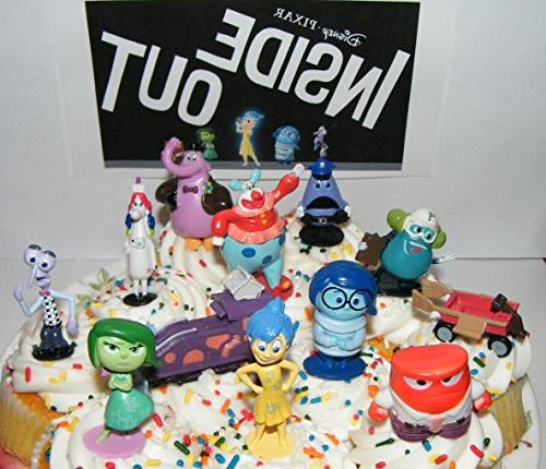 Disney Pixar Inside Out Movie Figure Set Cake Toppers / Cupcake Party Favor  Decorations Large Set of 12 with the 5 Emotions, Bing Bong, Rainbow
