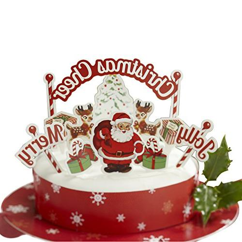 Ginger Ray Christmas Cheer Party Cake Decoration Toppers and
