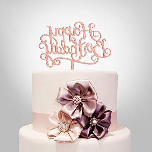 Happy Birthday Cake Topper Rose Gold Acrylic Calligraphy B