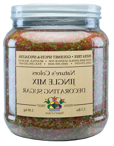 India Tree Nature\'s Colors Decorating Sugar Canister, Jingle Mix, 3.3 Pound