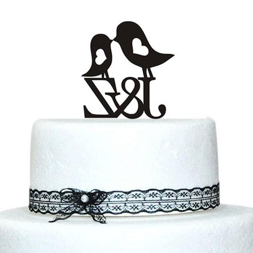 Personalized Love Birds Cake Topper with Heart Design Initia