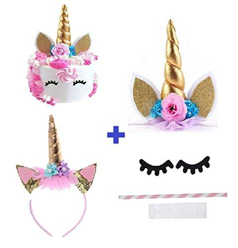 Prime Arts USA | 3D Unicorn Cake Topper with Eyelashes and Headband | DIY  Unicorn Party Supplies Cake Decoration Kit for Birthday, Baby Shower,